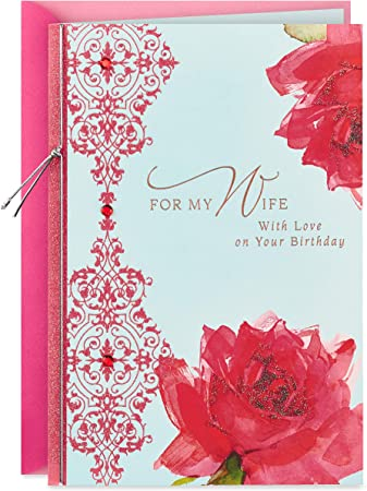 Hallmark Birthday Card for Wife (Roses with Pattern)