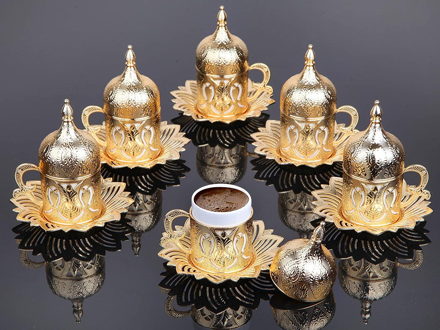 LaModaHome Topics on TV Espresso Manufacturer direct delivery Coffee Cup with Saucer and Tur of Lid 6 Set