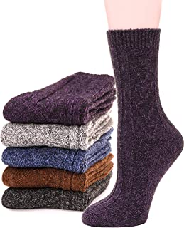 ALS Womens Wool Socks Warm Comfort Work Duty Boot Winter Socks For Cold Weather 5 Pairs