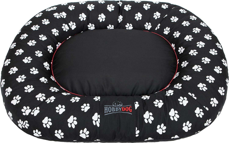 HOBBYDOG Ponton Prestige Dog Bed, 3XLarge, Black with Paws