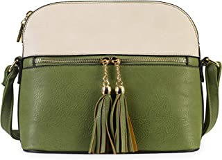 Mabel - Womens Cross-Body Bag - 100% Vegan PU Leather - Tassel & Zip Detail - Small Trendy Shoulder Handbag LEYLA (Green & Cream Trim)