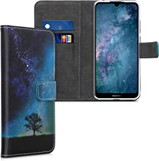 kwmobile Wallet Case Compatible with Huawei Y6s (2019) - PU Leather Flip Cover with Card Slots and Stand - Cosmic Nature B...