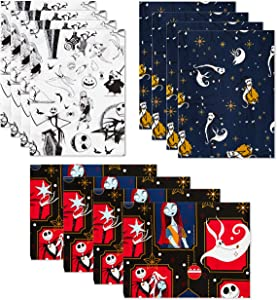 Hallmark Nightmare Before Christmas Flat Wrapping Paper Sheets with Cutlines on Reverse (12 Folded Sheets) for Christmas, Birthdays, Halloween