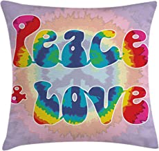 Ambesonne Groovy Throw Pillow Cushion Cover, Peace and Love Text in Tie Dye Effect Pattern Energetic Youthful Fun 60s 70s Hippie, Decorative Square Accent Pillow Case, 16