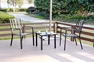 EMERIT 3 Piece Outdoor Bistro Sets Metal Modern Patio Furniture, Black