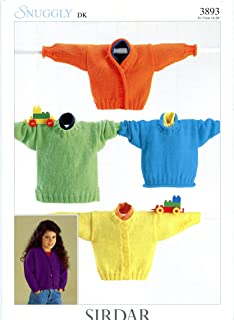 Sirdar Knitting Pattern #3893 - Snuggly DK Sweaters & Cardigans for Babies and Children Newborn to 8 Years
