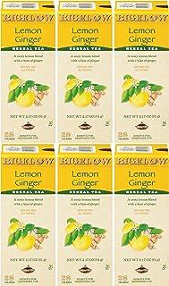 Bigelow Lemon Ginger Herbal Tea Bags 28-Count Boxes (Pack of 6) Lemon Ginger Tea Bags Herbal Tea All Natural Gluten Free