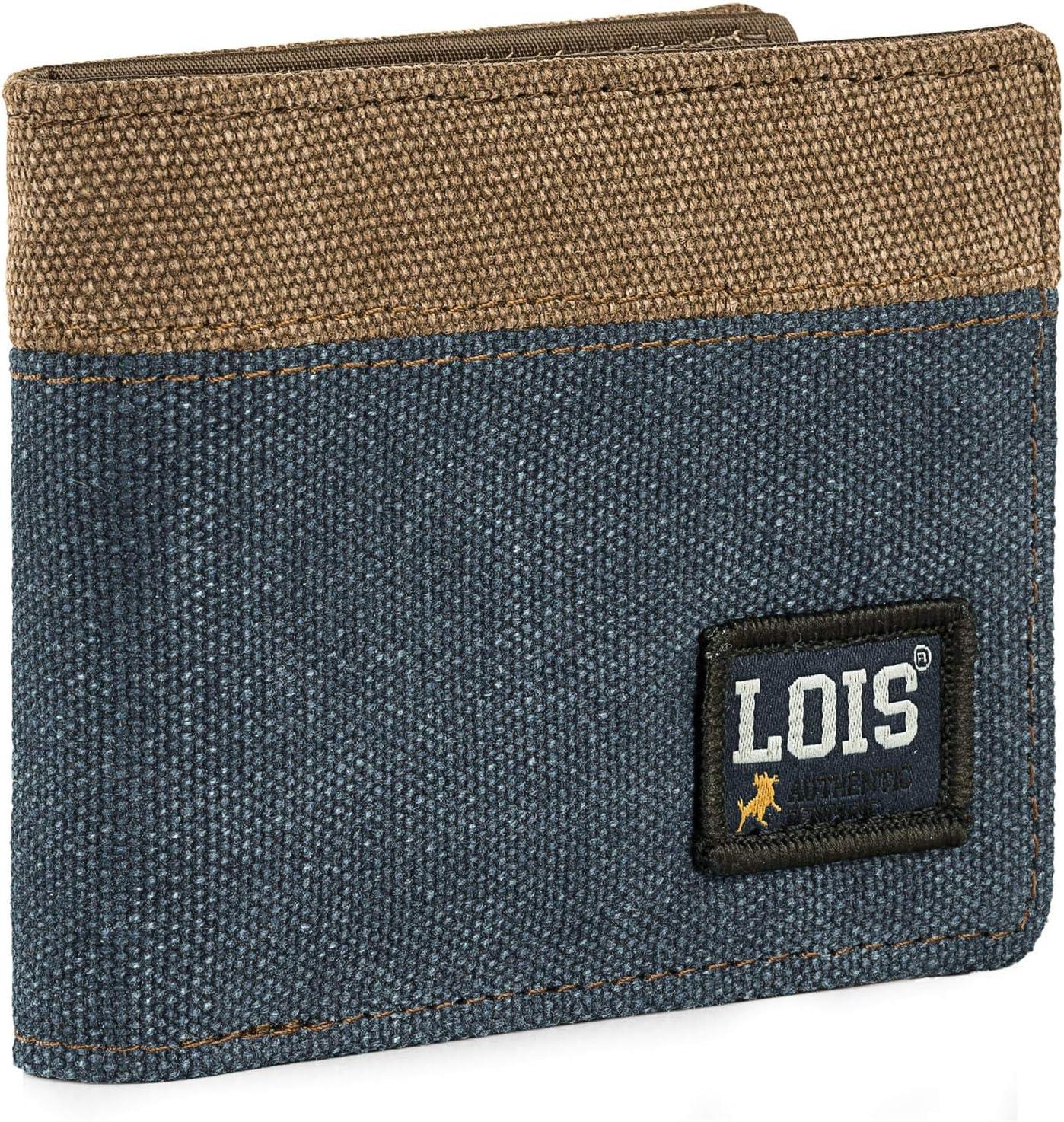 Lois - Cartera de Hombre Juvenil de Lona con Monedero, Tarjetero y Billetera. Compartimentos Traslúcidos para Documentación. Protección RFID. 203711