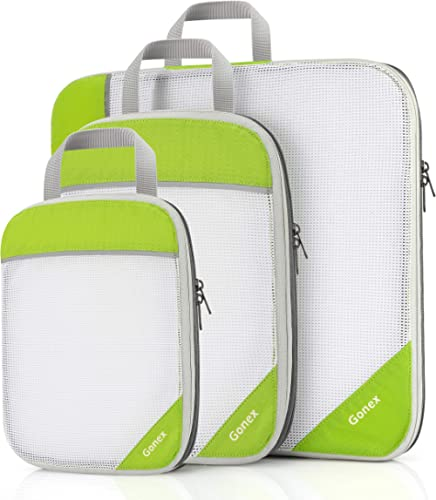 Compression Packing Cubes, Gonex Extensible Storage Mesh Bags Organizers - (L+M+S) Green - L+M+S