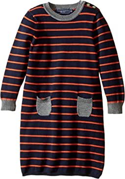 Orange Stripe Sweater Dress (Infant/Toddler)