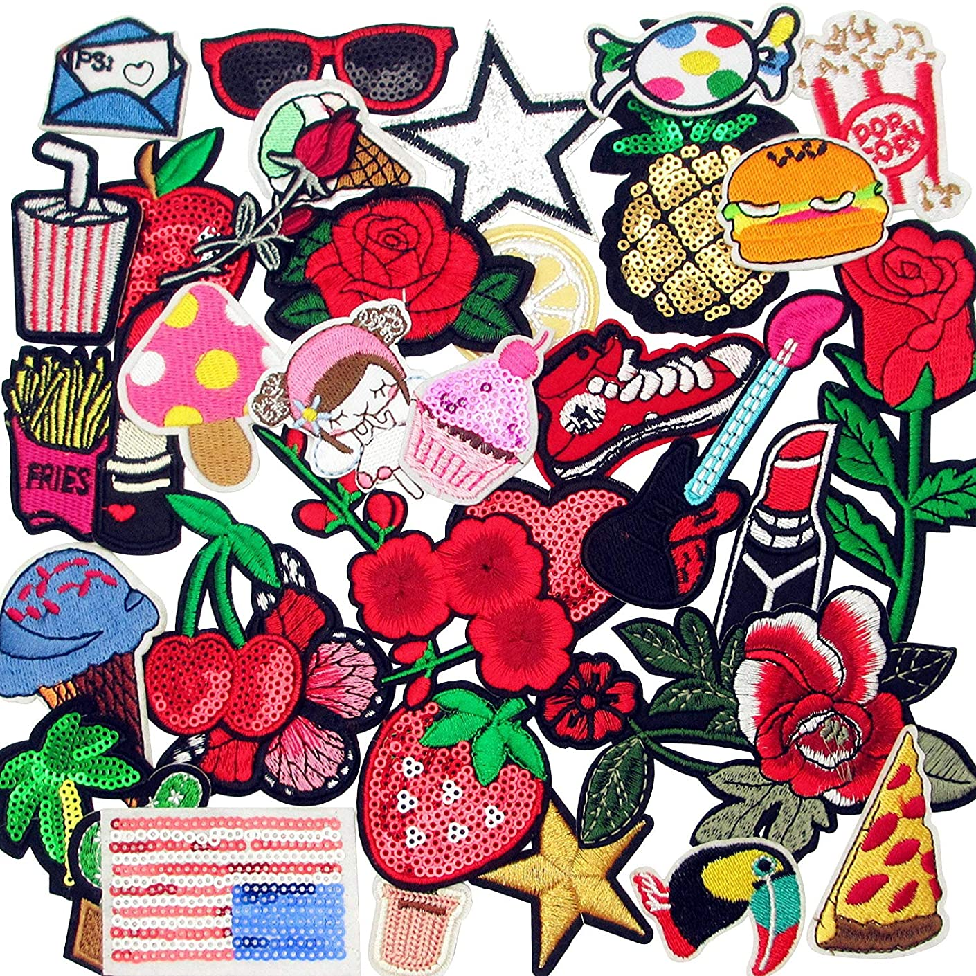 Dandan DIY 36pcs Random Assorted Styles Kid Embroidered Patch Sew On/Iron On Patch Applique Clothes Dress Plant Hat Jeans Sewing Flowers Applique DIY Accessory