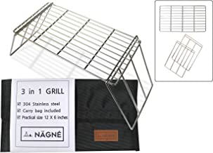 NAGNE - bushcraft backpacker's grill grate set - welded 304 stainless steel - 3 in 1 design - cooking grate, mini table, stand leg can be cooking grill - carry bag included - compact size perfect gear