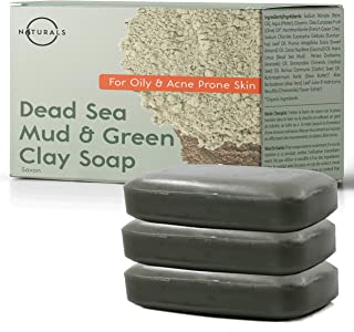O Naturals Acne Treatment Dead Sea Mud & Green Clay Deep-Cleansing Bar Soap. For Oily Face, Scalp, Hair & Body. Pore Cleanser, Eczema Psoriasis Blackhead Skin Detox Exfoliating Dead Skin Cells 3Pc 4Oz