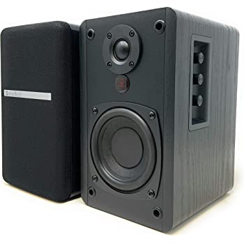 SINGING WOOD BT25 Active Bluetooth Bookshelf Speakers with Built-in Amplifier- Studio Monitor Speaker -2 AUX Input - Full Function Remote Control - Wooden Enclosure - 50 Watts RMS (Black)
