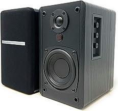 "SINGING WOOD BT25 Powered Bluetooth Bookshelf Speakers- Studio Monitor Speakers -2 AUX Input - Remote Control - Wooden Enclosure - 4"" Woofer and Silk Dome Tweeter- 50 Watts RMS (Black)"