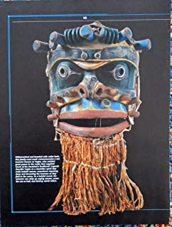 Family Crest Mask, sea monster known as Yagim, print art, gently removed from Vintage American Indians Spirit World Book