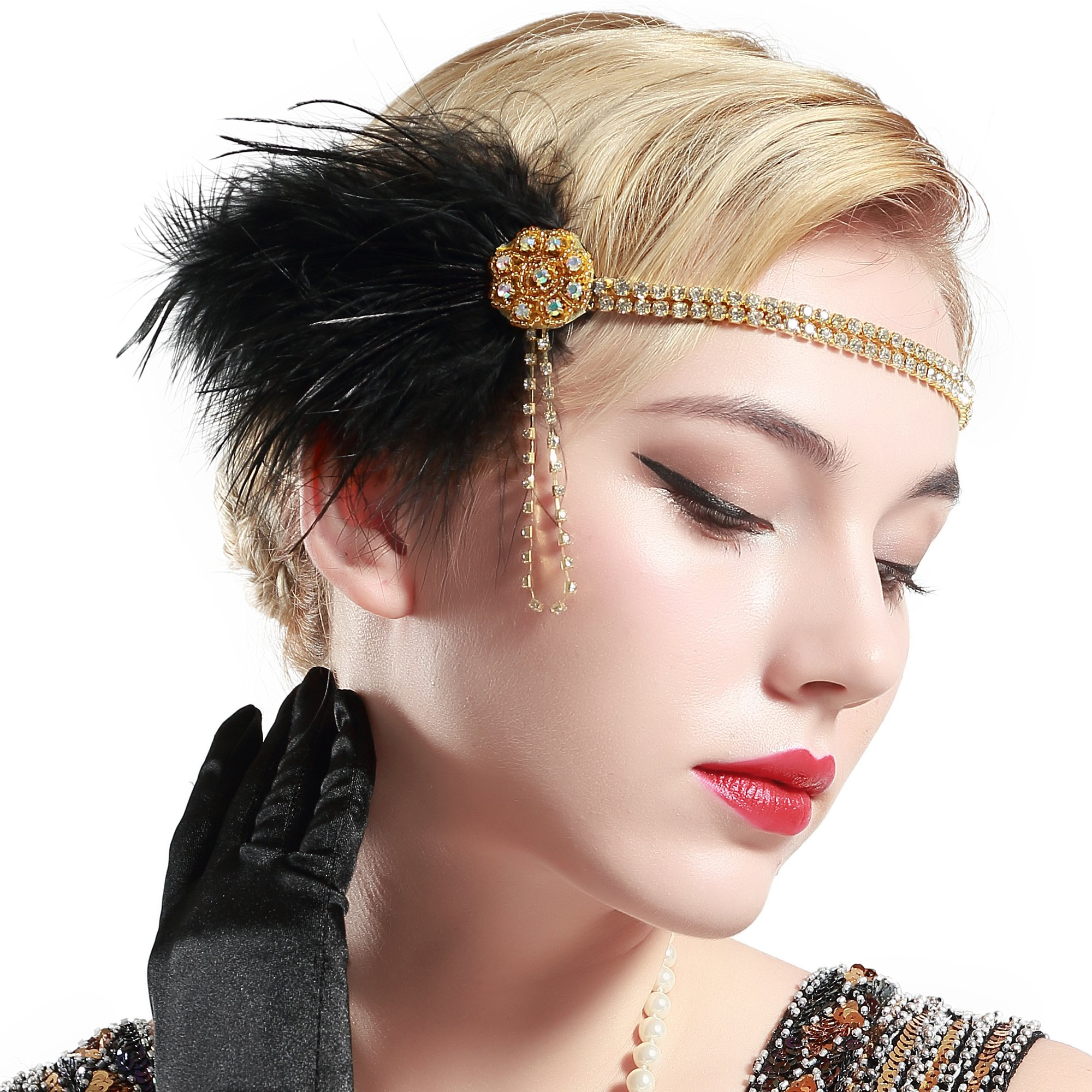 1920s Gatsby Headpiece for Women Black Feather 20s Headband for Gatsby,Vintage 1920s Flapper Hair Accessories for Lady