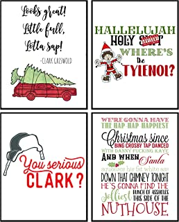 Best Funny Christmas Movie Wall Art Mix Sign (Set of 4) 8x10in Humorous Decoration Decor (Red) Reviews