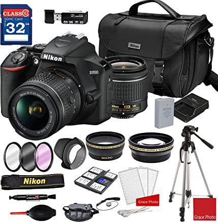 $389 » Nikon D3500 DSLR Camera with AF-P DX NIKKOR 18-55mm f/3.5-5.6G VR Lens + Nikon DSLR Camera Case + 32GB Memory Bundle (24pcs)