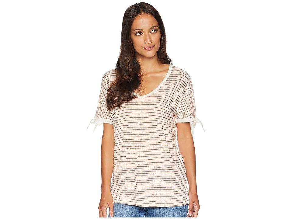NYDJ Printed Tie Sleeve V-Neck T-Shirt (Paint Stripe Blaze) Women