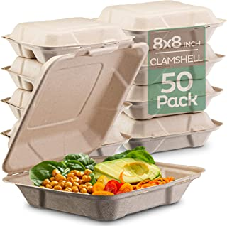 """100% Compostable Clamshell Take Out Food Containers [8X8"""" 50-Pack] Heavy-Duty Quality to go Containers, Natural Disposable..."""