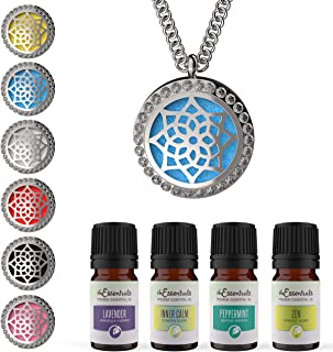 mEssentials CZ Flower Essential Oil Diffuser Necklace Gift Set - Includes Aromatherapy Pendant, 24