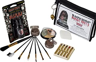 Zombie Makeup Kit By Bloody Mary - Halloween Costume Special Effects Palette - Walking Dead FX Makeup Tools - 5 Crayons, Blood, Setting Powder, 4 Application Brushes, 1 Sponge - Carrying Case Included