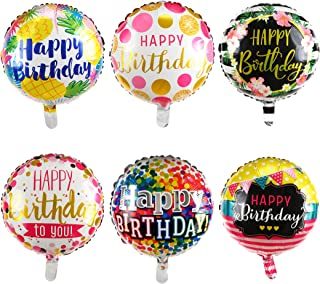 Happy Birthday Foil Balloons Round Mylar Helium Balloon Party Decorations Supplies 18 Inch Pack of 6