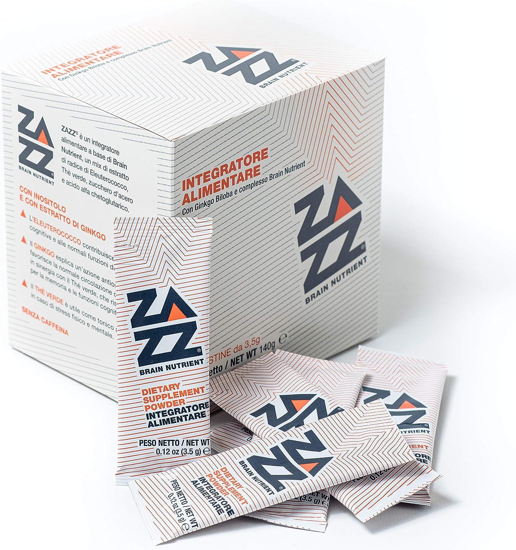 Suplemento para memoria y concentración Zazz. Nootrópico natural con ginkgo biloba, eleuterococo, té verde - Contra el cansancio, Proporciona energía, bienestar físico y mental - Paquete de 40 sachets