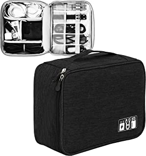 DAHSHA Electronics Accessories Organizer Bag, Universal Carry Travel Gadget Bag for Cables, Plug and More, Perfect Size Fi...