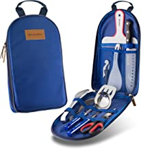 Wealers Camp Kitchen Utensil Organizer Travel Set Portable BBQ Camping Cookware Utensils Travel Kit Water Resistant Case Cutting Board Rice Paddle Tongs Scissors Knife and Bottle Opener