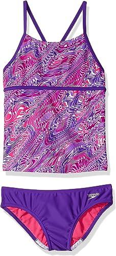 Speedo Girls Twirly Swirl Strappy Tankini Two Piece, Speedo violet, Taille 8