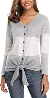 deqiang Women's Waffle Long Sleeve Front Stitching Knit Blouse Tops