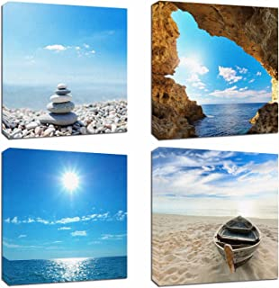 4Pcs 12x12 Canvas Wood Stretched Jetty Beach Blue Sea Ocean Sky Theme Pink Frame Landscape Abstract Modern Art For Home Room Office Wall Print Decor 12x12