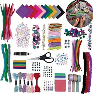 FAO Schwarz Kids DIY Craft Set with Case, Over 1300 Pieces and Supplies, Includes Pipe Cleaners, Pompoms, Stickers, Yarn, ...