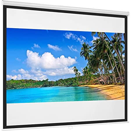Best Choice Products 119in Projector Screen 1:1 Indoor Manual Pull Down HD Projection Screen for Home Theater, Office, Media, Entertainment, Back Yard - White