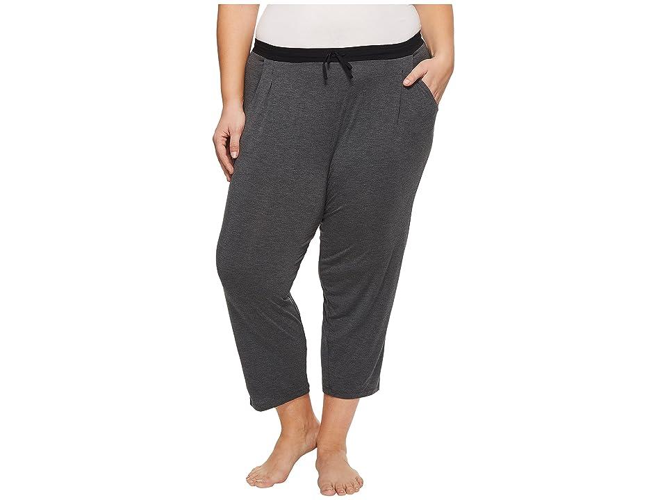 Donna Karan Plus Size Modal Spandex Jersey Capri Pants (Charcoal Heather) Women