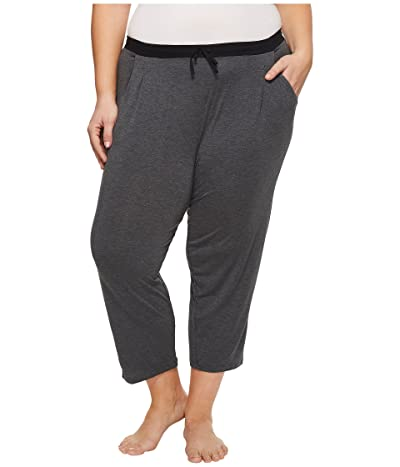 Donna Karan Plus Size Modal Spandex Jersey Capri Pants (Charcoal Heather) Women