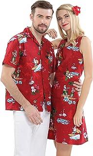 Couple Matching Hawaiian Luau Cruise Christmas Outfit Shirt Dress Santa Red Men L Women M
