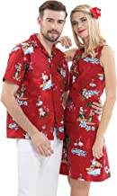 Couple Matching Hawaiian Luau Cruise Christmas Outfit Shirt Dress Santa Red