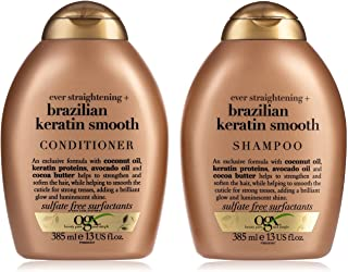 OGX Shampoo and Conditioner, Ever Straightening with Brazilian Keratin Smooth, 385 ml, Pack of 2