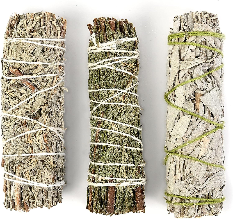 Incense Garden Cedar, White, and Blue Sage Sampler Pack - 3 Inch Plus - for Smudging, Healing, Purifying, Meditating & Incense