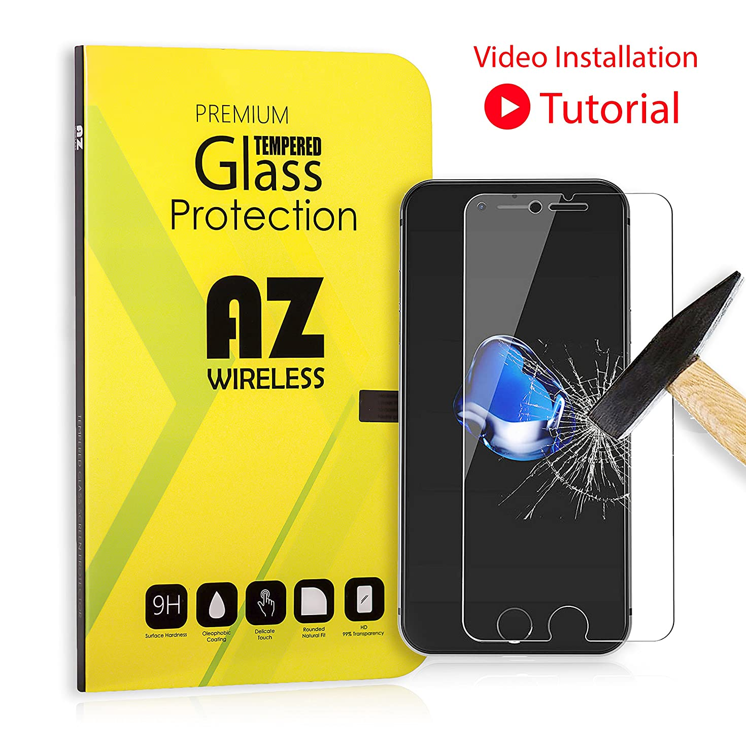 iPhone 8 Plus, 7 Plus, 6S Plus, 6 Plus Screen Protector Glass [Video Installation Tutorial] Tempered Glass Screen Protector for Apple iPhone 8+, 7+, iPhone 6S+, iPhone 6+ [5.5