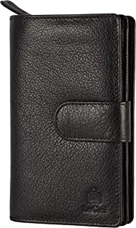 Le Craf Black Genuine Leather RFID Blocking Wallet Clutch for Women and Girls