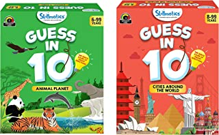 Skillmatics Guess in 10 - Animal Planet (Ages 6-99 Years) + Cities Around the World (Ages 8-99) Bundle | Card Game of Smar...