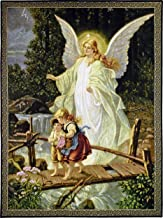 Guardian Angel by Lindberg Heilige   Woven Tapestry Wall Art Hanging   Angel Protecting Children   100% Cotton USA Size 53x40