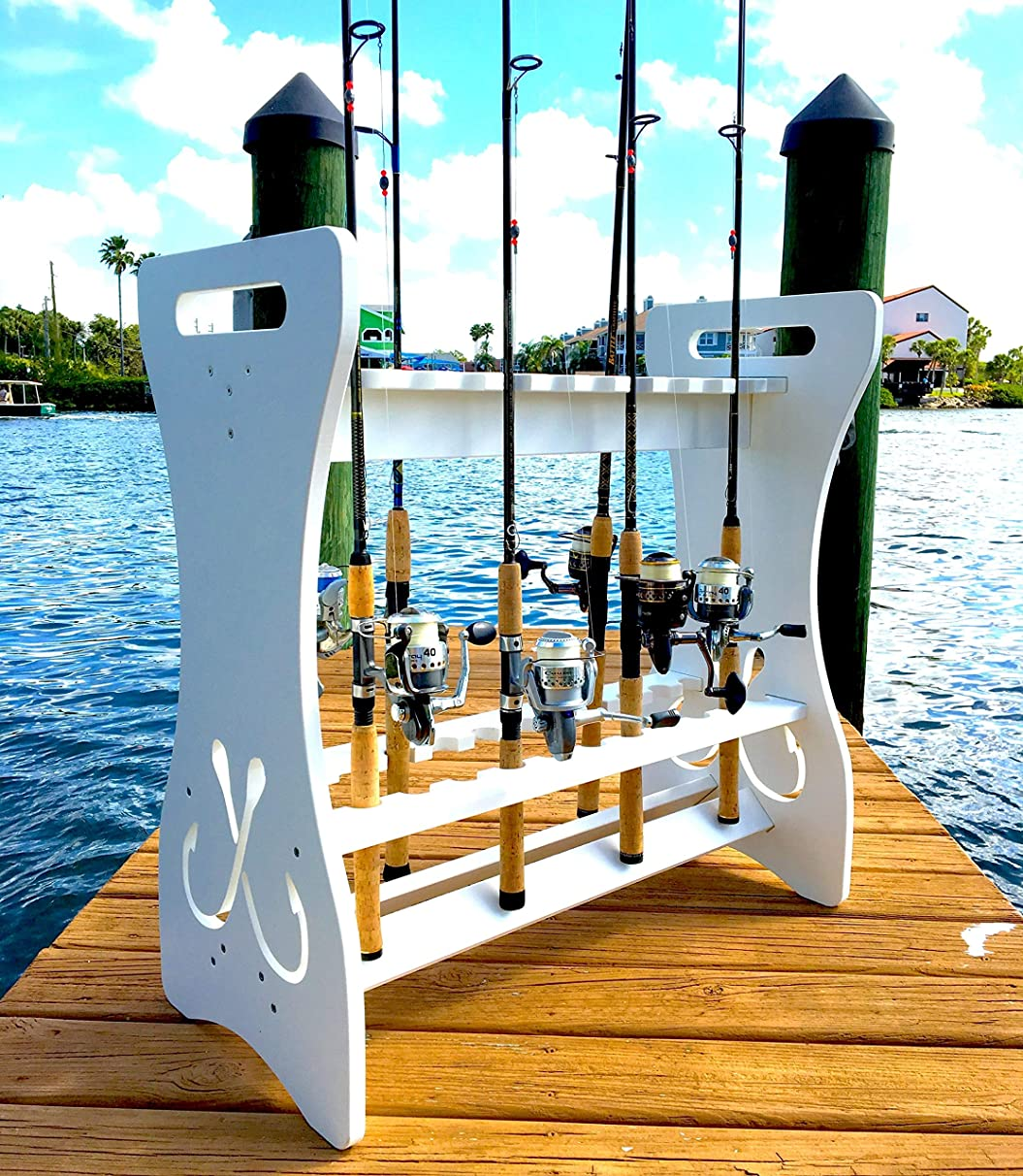Fishing Rod Storage Rack - Holds 24 Fishing Rods & Reels - Weatherproof - Indoor and Outdoor Storage Stand