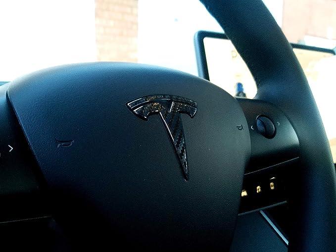 front, steering wheel, rear trunk PEAKTOWN Car steering wheel Rear Trunk front 3PCS logo Badge Decals for Tesla Model 3 Decorative Accessories CARBON FIBER