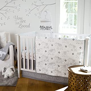 Levtex Baby Elephant Parade 5-Piece Crib Bedding Set, Grey/White