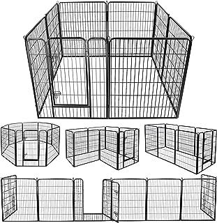 ZENY Foldable Metal Exercise Pen & Pet Playpen Puppy Cat Exercise Fence Barrier Playpen Kennel - 8 Panels (31.5